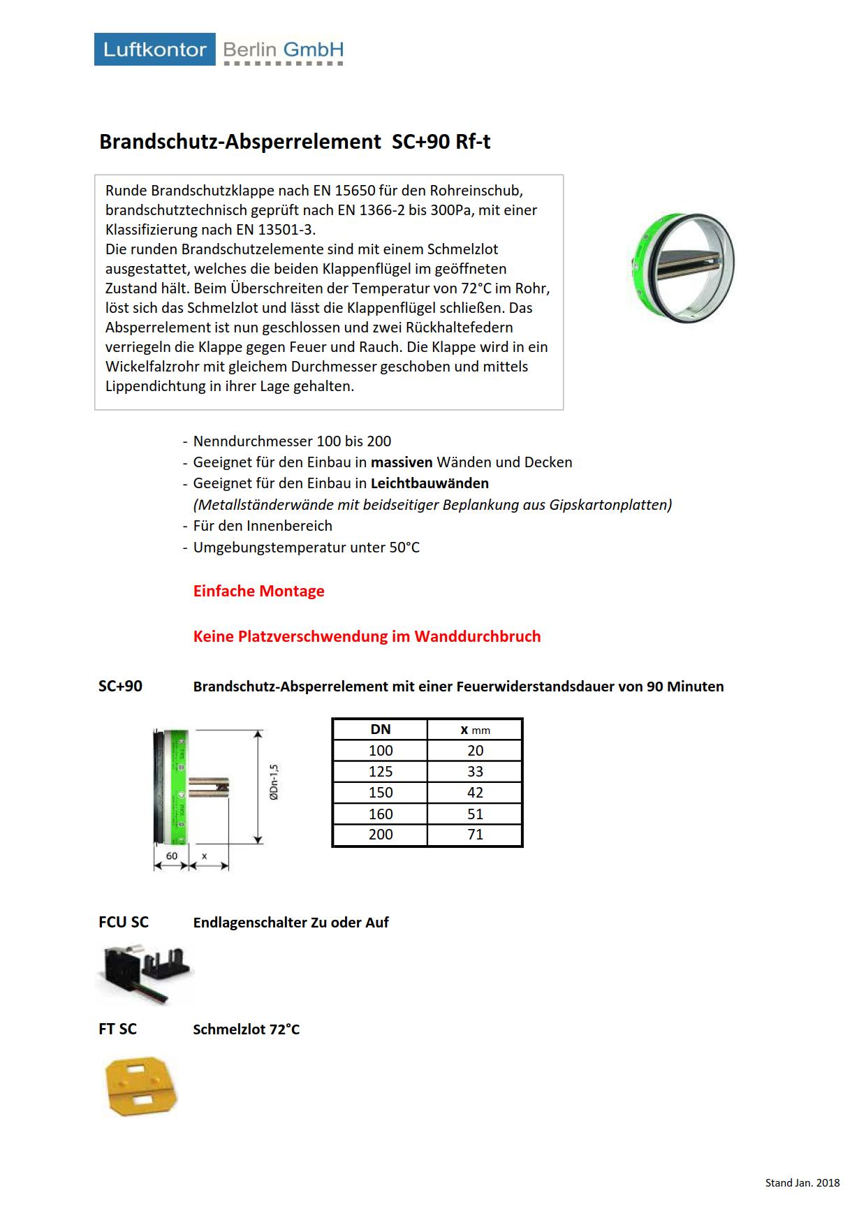 Brandschutz-Absperrelement SC+90 Rf-t