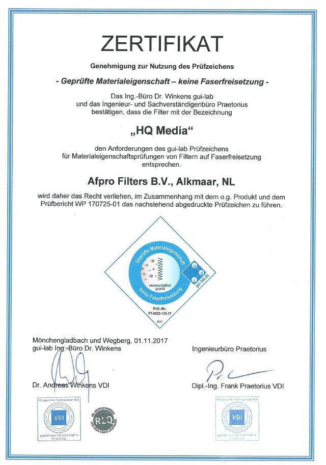 AFPRO Zertifikat