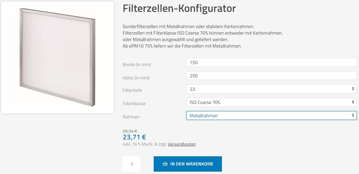 Filterzellen-Konfigurator