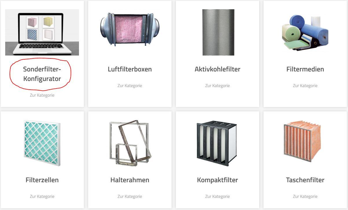 Kategorien Filter-Shop