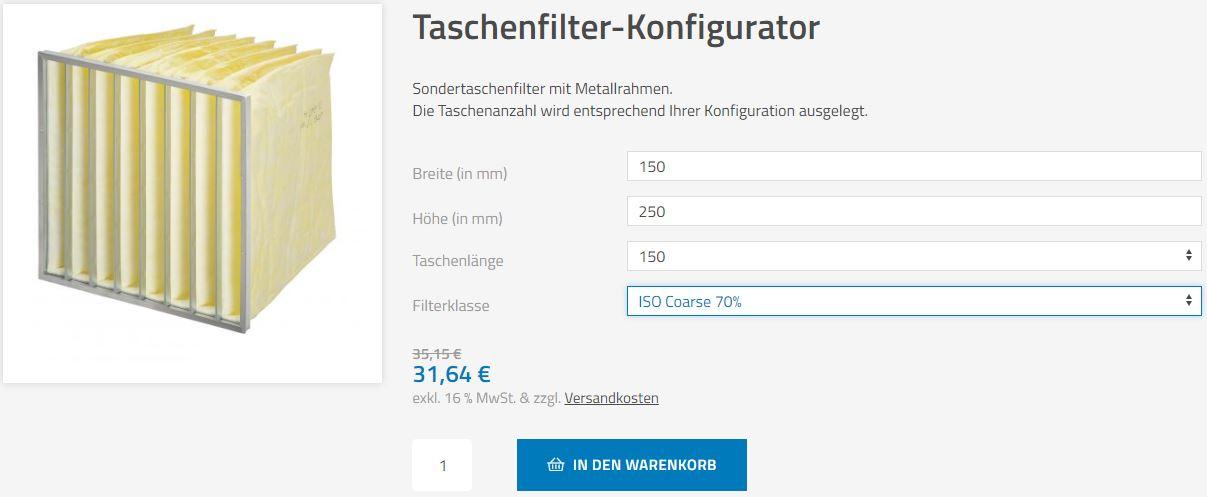 Taschenfilter-Konfigurator